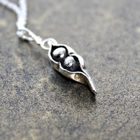 Two Peas In A Pod, Family, Fine Silver Pea Pod, Mom, Best Friend, Oxidized, Rustic Black Peapod pendant