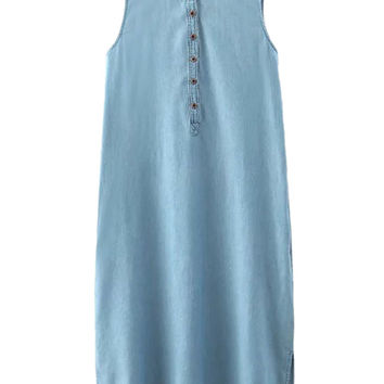 Blue Button Front Dipped Hem Side Split Denim Midi Dress