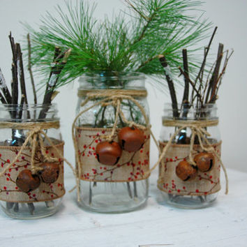 Christmas Twigs & Berries Christmas decor set of 3 Mason Jars, Christmas table decor, Christmas decorations, Holiday decorations