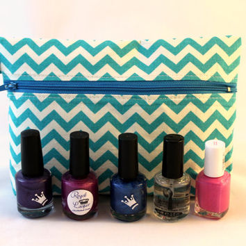 Blue chevron cosmetic case, nail polish bag, travel pouch, makeup bag, nail lacquer storage.