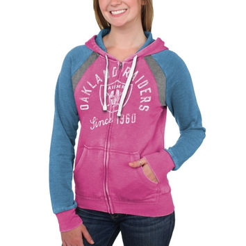 Oakland Raiders Women's Stella Full Zip Hoodie – Pink