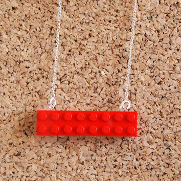 Red Brick necklace - long lego toy kids nostalgic simple silver chain jewelry geekery nerd FREE shipping to USA