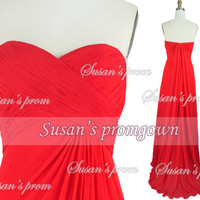 2014 Red Strapless Prom Dress Draped Chiffon Dresses, Prom Gown,Evening Dress,Wedding Dresses,Formal Dress,Party Dress