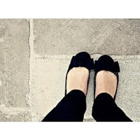 Dolly shoes whimsical Black Grey White Bow by ShabbyStudios
