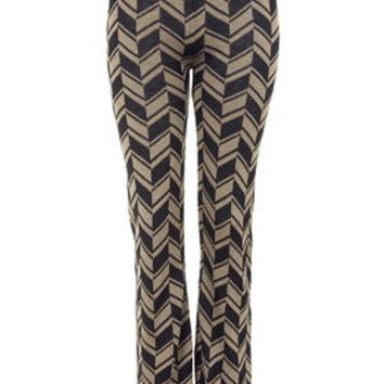 TALL Chevron Flared Trousers - Camel