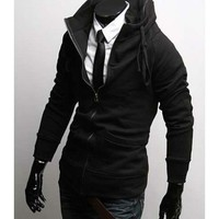 Men Korean Style Long Sleeve High Neck Zippers Black Thick Cotton Hoodie M/L/XL/XXL@S0W04-1b $24.88 only in eFexcity.com.