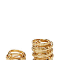 FOREVER 21 Orbital Twisted Ring Set Gold