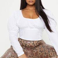 Plus White Puff Sleeve Square Neck Crop Top
