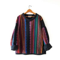 Vintage Allen Wah oversized sweater. Colorful knit sweater. Thick knit chenille sweater