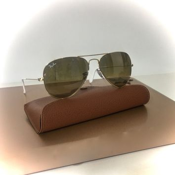 New RAY BAN Aviator Sunglasses Gold Frame RB 3025 001/3K Brown Mirror Lens 55mm