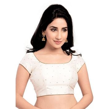 Designer Indian Traditional White Dupion Silk Padded  Half Sleeves Saree Blouse Choli (X-202Sl)