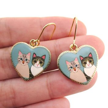 Heart Shaped Illustrated Cat Portrait Dangle Earrings | Animal Jewelry