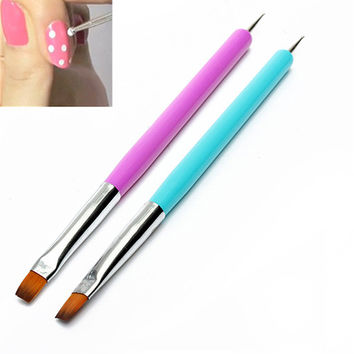 Hot 2015 New Arrival Promotion 2-Ways Nail Art Pen Painting Dotting Acrylic UV Gel Polish Brush Liners Tool 51OI smt 101