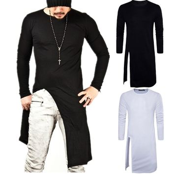 Men's Triangle Unbalance Cut Gloves Long Sleeve T-shirt New Spring Fashion Tee, Streetwear, Pullover t shirt, T shirts for men