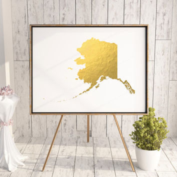 Alaska Gold Color Map Print Personalized Home Town Art State Wall Decor Typography Art Nursery Art Print USA Decor Poster Print GOLD FOIL