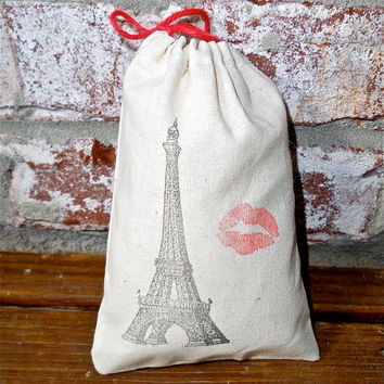 French Kiss Eiffel Tower Hand Stamped Cotton Muslin 4x6 Favor Bag- Perfect for Rustic or French themed Weddings and Parties
