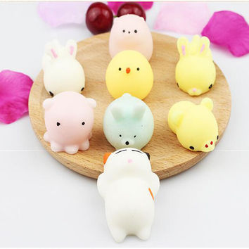 1pc Tiny Funny Novelty Antistress Ball Cute Mini Animal Soft Toy Collection Stress Reliever Gift Decor for Children Girl