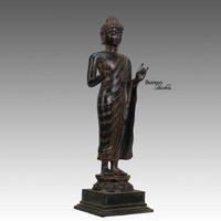 "Bronze Buddha 17.75""Standing Buddha Indonesian Buddha In Dharmachakra Mudra;Enlightened,Teaching,Serene, Meditation Home Decor Sculpture"