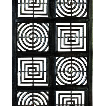 Squares And Circles Hand Carved Wood Wall Decor Sculpture