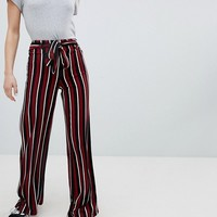 Bershka wide leg trouser in colourblock stripe at asos.com