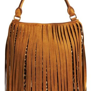 Burberry Prorsum Suede Fringed Genuine Calf Hair Bucket Bag - Brown