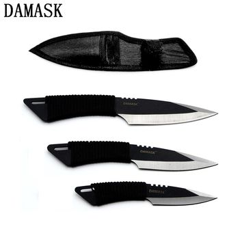 Damask Brand Handmade Outdoor Kitchen Knife 3 Piece Stainless Steel Blade Knife + One Black Sheath Cooking Accessories Set Sale