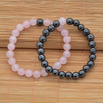 Hematite & Pink quartz Set For Men Women Jewelry 2 Colors Couple Distance Bracelets