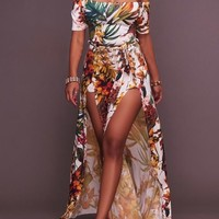 White Leaves Print Sashes Backless Double Slit Off Shoulder Bohemian Maxi Dress