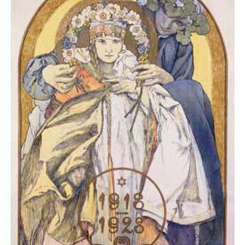 Nouveau 1918 1928 Theater Advertisement by Alphonse Mucha Fine Art Print