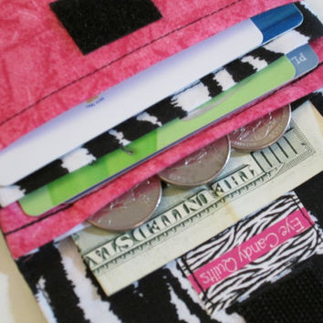 Zebra, Hot Pink, Women's Wallet, Wallet, Card Wallet, Change Purse, Cash Wallet, Fabric Wallet, Animal Print