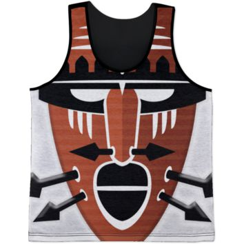 Tribal Warrior Mask All Over Print Maroon Tank Top