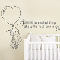 Quote Wall Decal Vinyl Sticker Decals Quotes Winnie the Pooh Quote Sometimes The Smallest ... in Your Heart Nursery Decor Baby Room Wall Decal ZX213