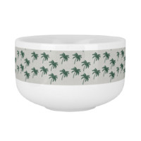Green Palm Trees Soup Bowl With Handle