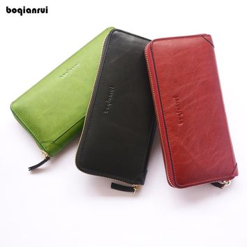 BOQIANRUI Women's Purse High-quality Genuine Leather Wallet Female Long Style Cowhide Purse Capacity Clutch Card Holder Pouch