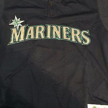 MAJESTIC PULLOVER SEATTLE MARINERS RETRO BATTING PRACTICE MLB JSY SHIPPING