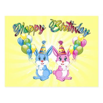 Wonderful Pink and Blue Bunnies Birthday Cartoon Postcard