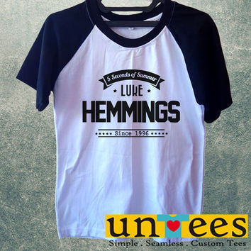 Luke Hemmings 5 Seconds of Summer Short Raglan Sleeves T-shirt
