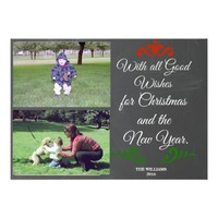 Chalkboard Christmas Photo Card All Good Wishes
