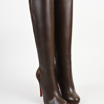 HCXX Brown Christian Louboutin Leather   Acheval 100   Tall Boots