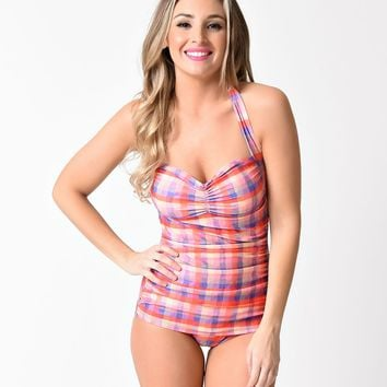Girl Howdy 1950s Pin Up Prue Plaid Halter Sheath Swimsuit