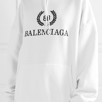 BALENCIAGA Oversized printed cotton-blend jersey hooded top