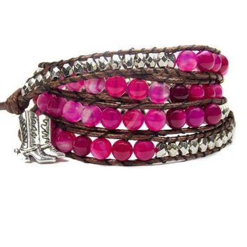 Equestrian Bracelet Cowgirl Boots Pink Beaded Wrap