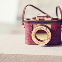 Wood and Leather Camera Necklace- Aztec Red, Brown - Vintage replica