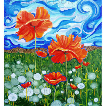 Red Wildflowers Art Print. Poppies Dandelions Meadow landscape folk art accent wall decor 8x10 giclee Happy painting