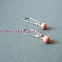 Pink Coral Bridesmaid Earrings Wedding jewelry by SenoritaJoya