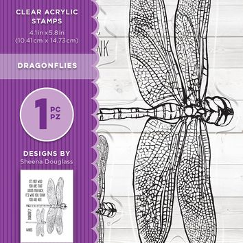 "Crafter's Companion Clear Stamps 4.1""X5.8""-Dragonflies By Sheena Douglass"
