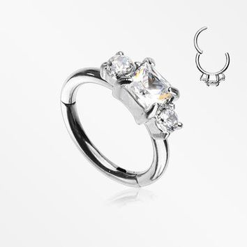 Prong Set Princess Cut Sparkle Gem Segment Clicker Ring