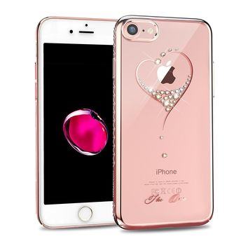 KINGXBAR for Apple iPhone 8 Case , iPhone 7 Case ,Bling Diamond Crystals from SWAROVSKI Element ,Fashion Hard PC Transparent Sparkly Case Cover for Christmas party