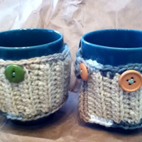 Set of Two Cream and Green Mug Cozies