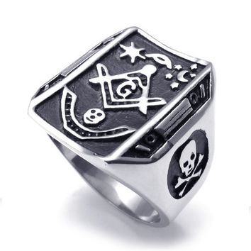 Titanium Steel Black Masonic Sign Ring -Size 12
